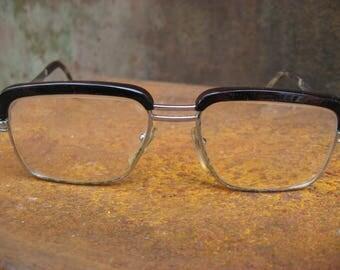 1960s Browline Eyeglasses. Chrome metal French glasses with case, original vintage geek eyewear, brown screwed tops. Glasses for men / women