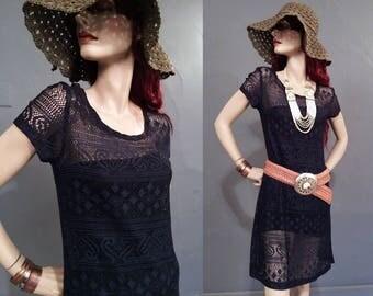 Vintage 90s Navy Blue Lace Dress • Minimalist dress • Festival Clothing • Grunge • Sheer Dress • Over Dress • 1990s • M L