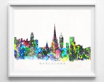 Barcelona Skyline Print, Spain, Barcelona Poster, Watercolor Art, Wall Decor, City Skyline, Wall Art, Living Room Decor, Halloween