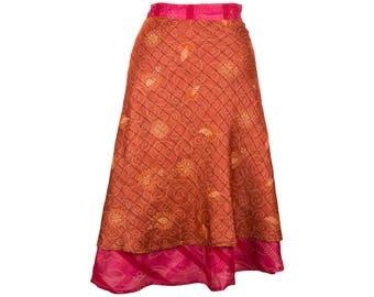Reversible Pink Silk Skirt, Wrap Skirt, Unique Clothing, Travel Skirt, Reversible Skirt, Plus Size Skirt, Silk Wrap Skirt, Silk Skirt