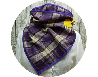 Wrap scarf, Knopfschal, XXL-scarf, Winterschal, winter, winter, autumn, scarf, cloth, checkered, diamond, purple, black, wool, enclosed