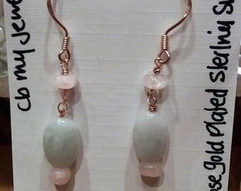 Burmese Jadeite & Moganite earrings