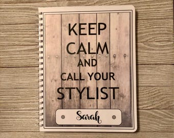 Salon Yearly Appointment Book with Income Tracking - Keep Calm Design - Personalized