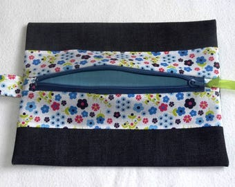 Small cosmetic clutch bag - Jeans / floral