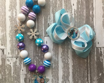 Frozen Pigtail Set - Frozen Hair Bows- Elsa Hair Bow - Frozen Bow - Disney World Bow - Frozen Birthday Party - Frozen Party - Frozen Necklac
