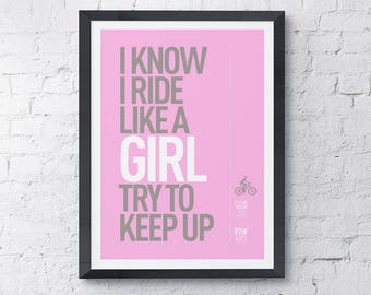Cycling motivational print female