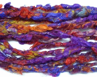 "Handspun Corespun Art Yarn - ""Bright Pancies"" - 100% Silk - 30 yds"