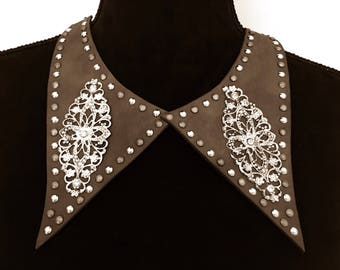 Women Handmade Leather studded boho bohemian silver embroidered vintage hippie gypsy collar bib necklace brown.