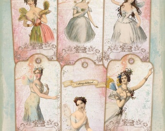 Vintage Fairies Digital Collage Sheet Large Tags Bookmarks Labels Journaling Scrapbooking Cardmaking Decoupage Embellishment