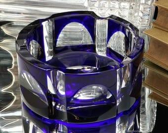 Vintage Cobalt Blue Cut Crystal Cigar Ashtray / Art Deco Cigar Accessories