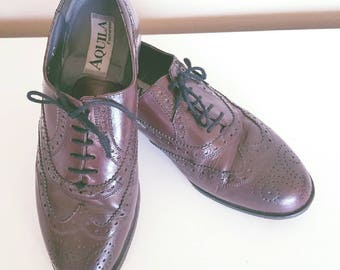 Vintage 1980s Mens Aquila Red Brown Leather Oxfords Loafers Size 7