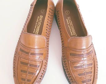 Vintage 1980s Mens Brown Beachcombers Leather Loafers Size 7