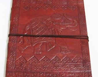 Elephant- Vintage Look Embossed Handmade Leather  Diary- Travel Sketchbook Journal Notebook
