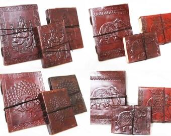 Vintage Look Embossed Handmade Leather  Diary- Travel Sketchbook Journal Notebook