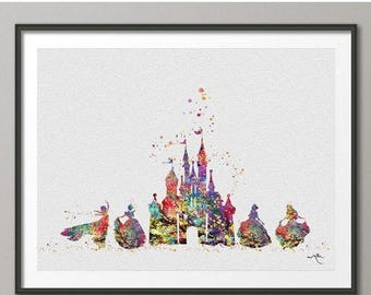 Cinderella Fairy Tale Princess Castle Fantasy Castle Watercolor Print Baby Shower Newborn Art Gift Princess Room For Girls Wall Art [NO 248]
