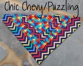 StitchPet Reversible Dog Scarf / Cool Dog Bandana for Boys / Slip on Dog Scarf / Stitchpaint / Ready to Ship / Chic Chevy / Puzzling