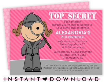 Spy Invitation, Spy Party, Spy Party Invitation , Spy Invites, Detective Invitation, Secret Agent Party, Spy Birthday, Detective Party | 13