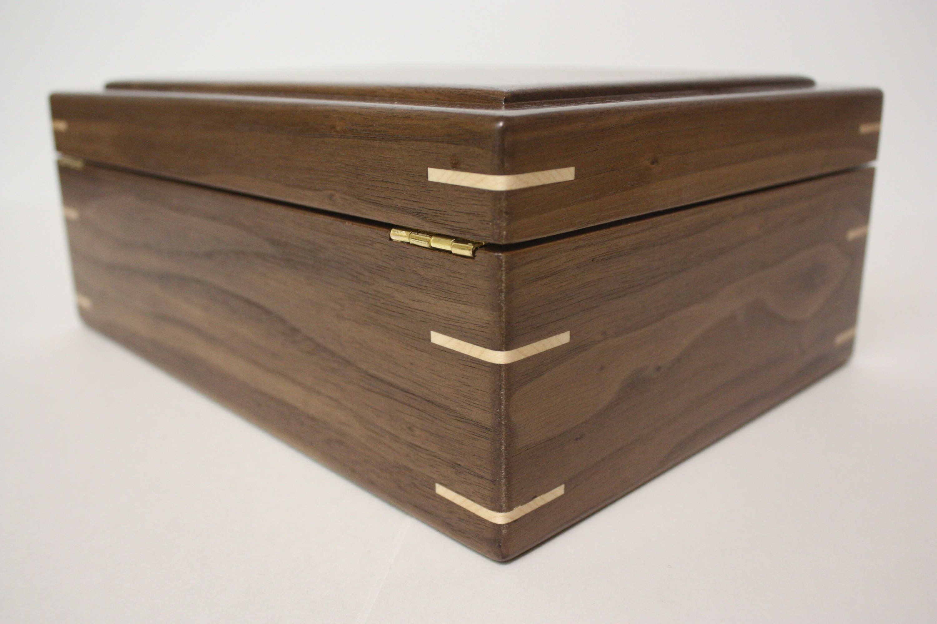 Handmade Walnut Box with Hinged Lid for sale
