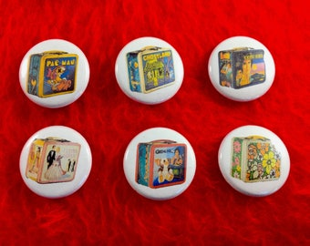 Lunch Box Pinback Buttons - 6 pack 1""