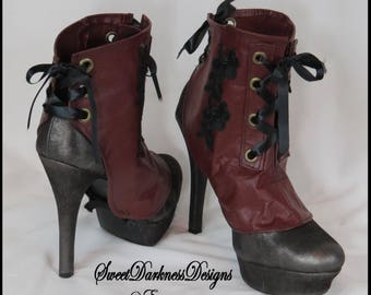 Steampunk Leather Spats Gothic Spats READY TO SHIP Victorian Spats Burgundy Corset Laceup Shoecover Vintage Spats by SweetDarknessDesigns