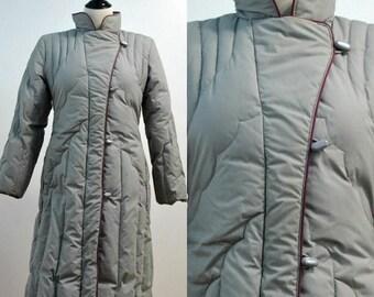SUMMER SALE 80s Puffy Coat / Vintage Women's  Trench Coat Ski Jacket Floor Length / 1980s Gallery Gray Maroon / Women's Coats Jacket Medium