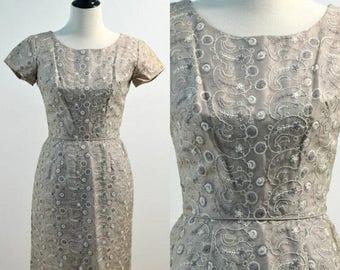 SUMMER SALE Vintage vtg 60s 1960s Gray Silver Formal Party Dress