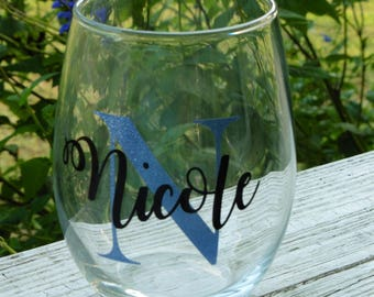Personalized wine glasses, Stemless wine glass, name