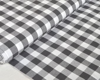 """Fabric """"Plaid grey"""" 100% cotton sold in multiples of 10cm"""