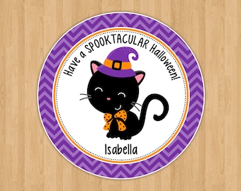 Black Cat Halloween Favor Tags