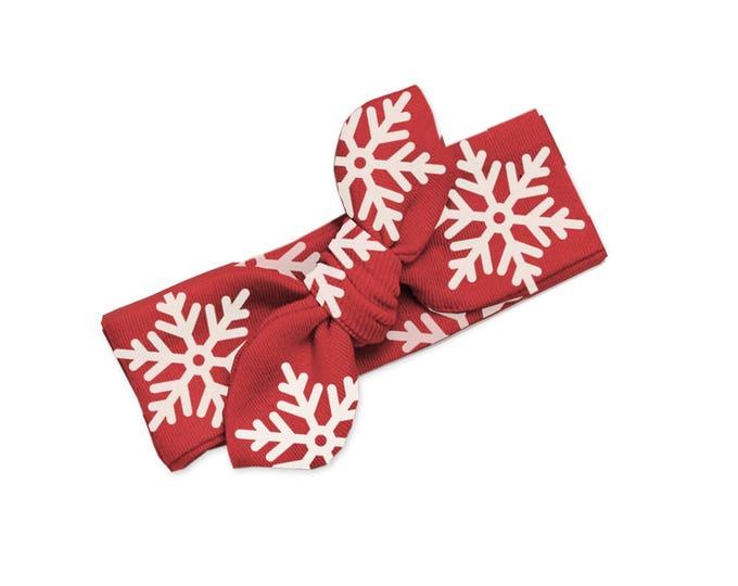 Newborn Christmas Headband, Baby Girl Red Snowflake Bow, Newborn Red Headwrap, Baby Girl Christmas Headband Bow, Baby Knot Headband Tesababe