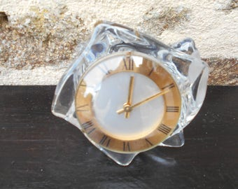 Vintage French Crystal Clock, Manual Wind up mechanism