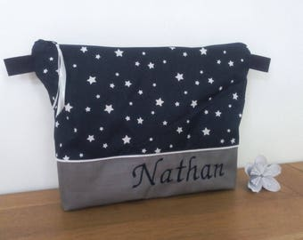 Toilet bag custom printed Navy starry white with or without handle