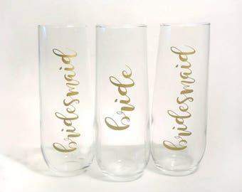 Bridal Party Stemless Champagne Glasses, Bridal Party Champagne flukes