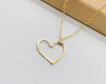 14 k gold fill/ sterling silver heart pendant necklace