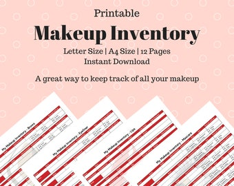Printable Makeup Inventory Sheets - Red Design - Customized to each makeup product. Makeup Inventory. Makeup Planner. Beauty Planner