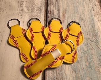 Chapstick Key Chain/ Chapstick Holder/ Lip Gloss Key Chain/ Holder Sports SOFTBALL