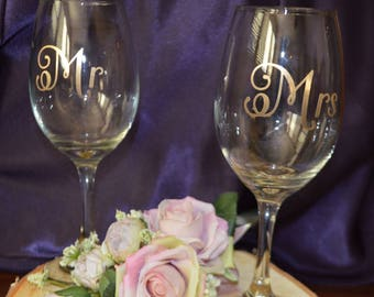 Toasting Glasses, Bridal Party Glasses, Bride & Groom Glasses, WIne Toasting Glasses, Wedding Glasses