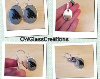 Raven/Crow cameo drop earrings  Raven earrings bird earrings cameo earrings gifts under 20