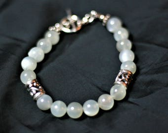 "8"" Moonstone with silver accents bracelet"