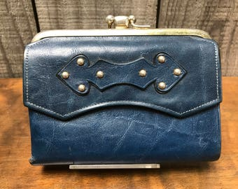1960's Princess Gardner Navy Blue Leather Wallet with 2 Coin Pouches