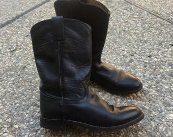 Vintage Justin Boots - Size 6.5 C Womens - Black Leather Boots - Western Boots - Hipster - Minimalist - Witchy - Cowboy Boots - Vtg -