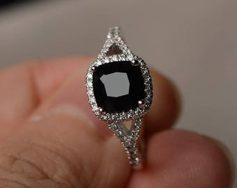 Natural Black Spinel Ring Engagement Ring Cushion Cut Black Gemstone Sterling Silver Ring Women Jewelry