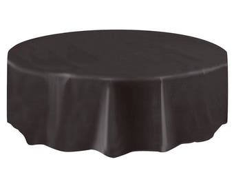 Strong Reusable 84 Inch Round Plastic Table Cover   Jet Black   Black  Tablecloth   Fun