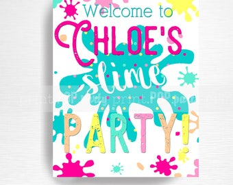 Slime Birthday Party Printable Slime Welcome Sign YOU Print Bright Rainbow Neon