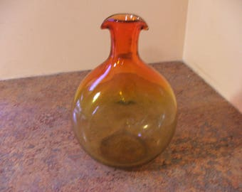 Vintage 1960s Bischoff Glass #478 tangerine decanter / vase