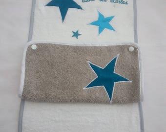 """housse de matelas à langer """"étoiles""""+2 serviettes éponges interchangeables"""