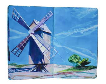 "Fine Art Print of Finland Landscape Painting from Artist Sketchbook - ""Jurmo Island Windmill"""