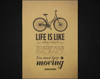 """Vinatge Poster 20""""x14"""" - Albert Einstein Quote """"Life is Like Riding a Bicycle to Keep Your Balance You Must Keep Moving"""" - Life Quotes p411"""