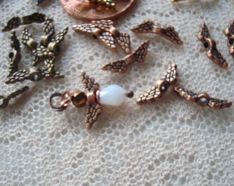 40 Tiniest Angel Wing Spacers/Charms. Only 12mm Wide. 4 Colors: Antique Gold, Copper, Bronze and GMBlack. *Make Your Own Tiny Angel Earrings