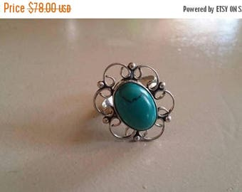 Holiday SALE 85 % OFF Turquoise ring size 7.5 Sterling 925 Silver   Ring  Gemstone